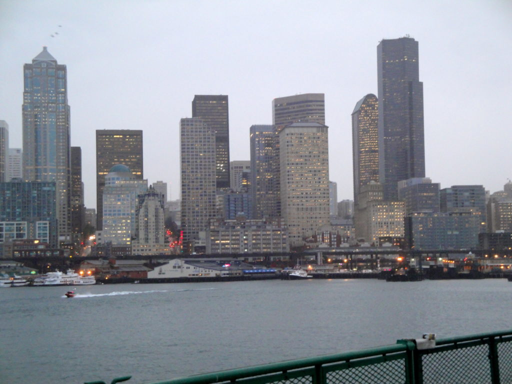 View of the Seattle skyline from our ferry