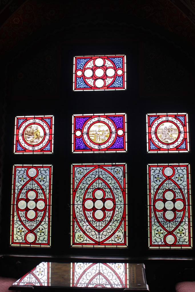 The stained glass in the castle was stunning.