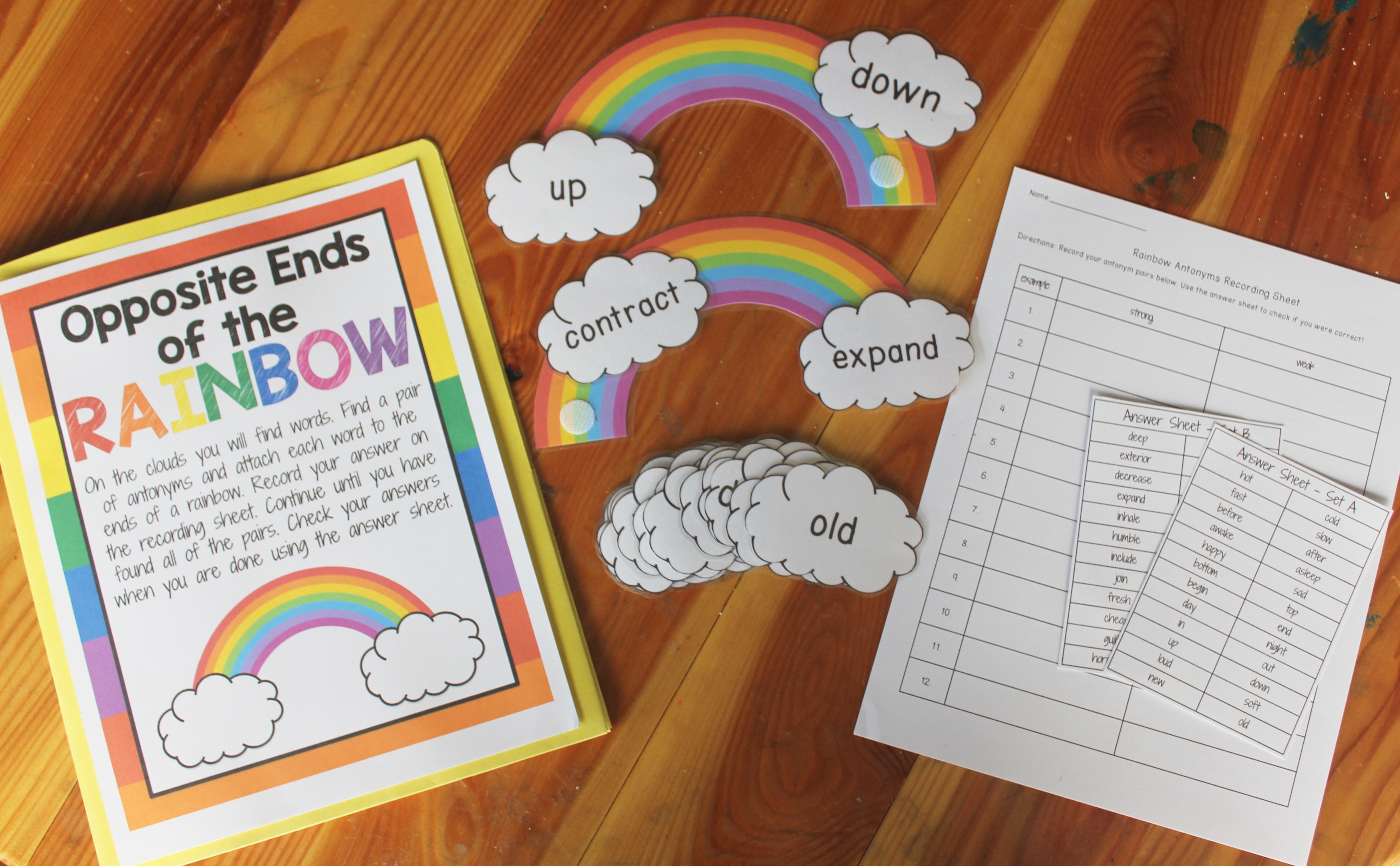 opposite ends of the rainbow a center to practice antonyms my
